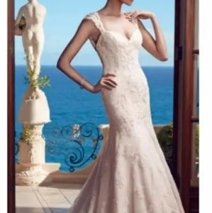 Casablanca mermaid white beaded lace wedding gown